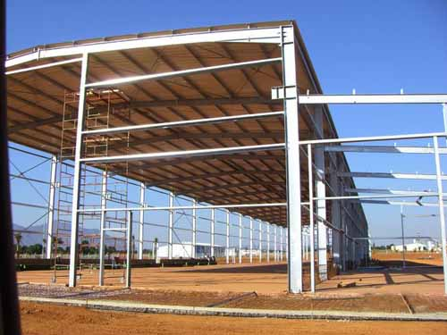 light steel structure warehouse building with finished steel frame surface treatment of fireproof paint